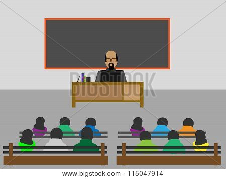 Vector Illustration Of Classroom With Lecture Teaching Students,concept Of Classroom.