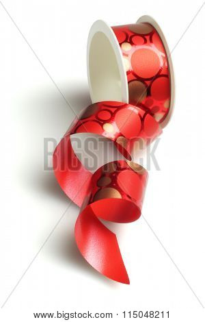 Red Decorative Ribbon on White Background