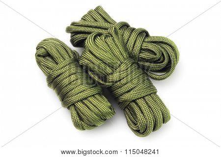 Three Bundles of Para Cords on White Background