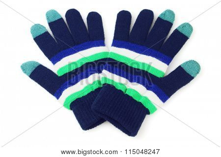 Pair of Colourful Gloves on White Background
