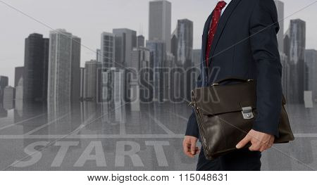 Portfolio investor. Businessman with briefcase. Business concept