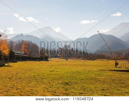 Bansko, Bulgaria - November 15, 2015: Cable Cabin Mountain Ski Resort Bansko, Bulgaria, February 19,