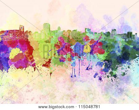 Wellington Skyline In Watercolor Background