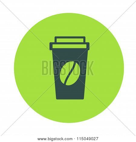 Disposable Coffee Cup, Container Icon With Beans Logo, Vector Illustration