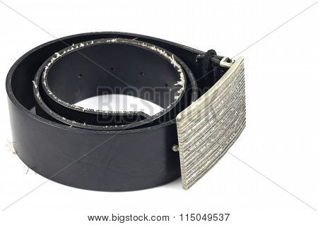 Black Leather Belt And Vintage Buckle On White Background