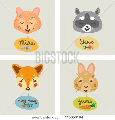 Gift card with fox, cat, bunny, and raccoon.