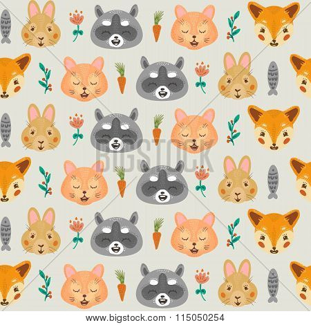 Vintage floral pattern with raccoon, rabbit, cat and fox.