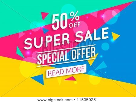 Super Sale shining banner on colorful background. Geometric design.