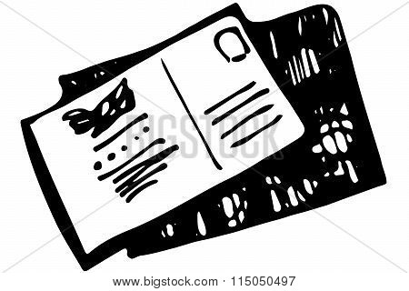 Vector Sketch Of A Sealed Envelope With A Stamp And An Address
