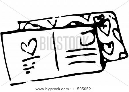 Sketch Of A Sealed Envelope With A Stamp And An Address