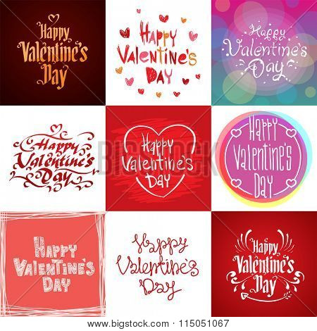 Happy Valentines Day greeting cards vector illustration. Valentine greeting card design. Valentine Day Layout design illustration. Love, romance. Red colors hearts and vintage calligraphy text labels