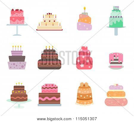 Vector cake collection. Vector cakes isolated on white background. Cute flat cakes icons. Flat modern style cakes. Sweet to Birthday and holidays