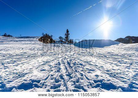 Idyllic Winter Ski Resort Wide Angle Panoramic Photo