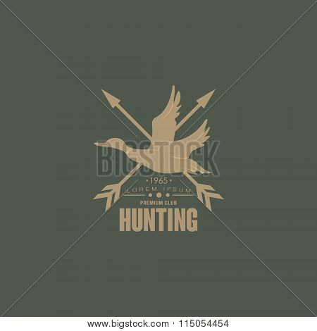 Hunting Vintage Emblem with Horns and Guns