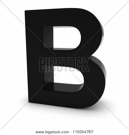 Black Capital B - 3D Letter B Isolated On White