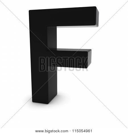 Black Capital F - 3D Letter F Isolated On White