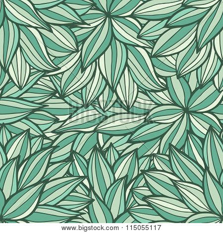 Doodle Flowers Outline Ornamental Seamless Pattern In Green Colors