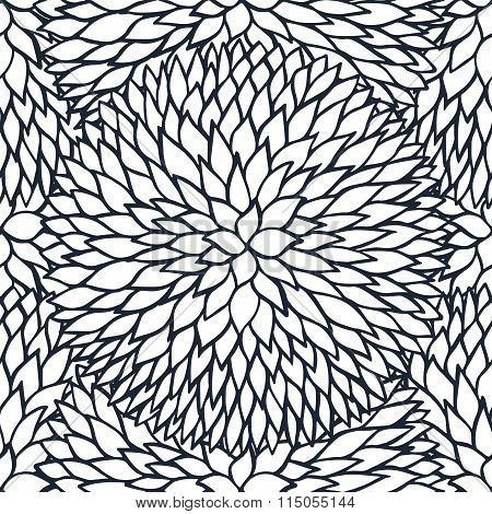Doodle Daisies Outline Ornamental Seamless Pattern