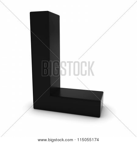Black Capital L - 3D Letter L Isolated On White