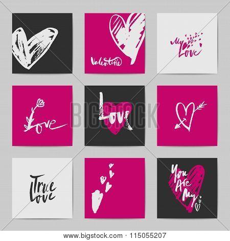 Abstract postcard Valentine templates