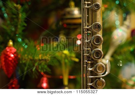 Old Flute Near A New Year Tree