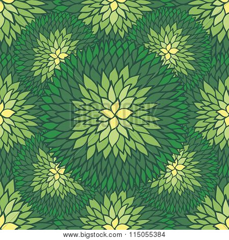 Doodle Daisies Outline Ornamental Seamless Pattern In Green Colors