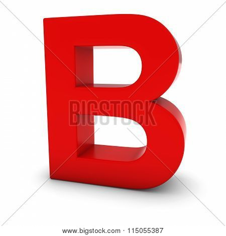 Red Capital B - 3D Letter B Isolated On White