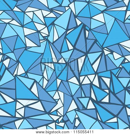 Doodle Triangles Outline Ornamental Seamless Pattern In Blue Colors