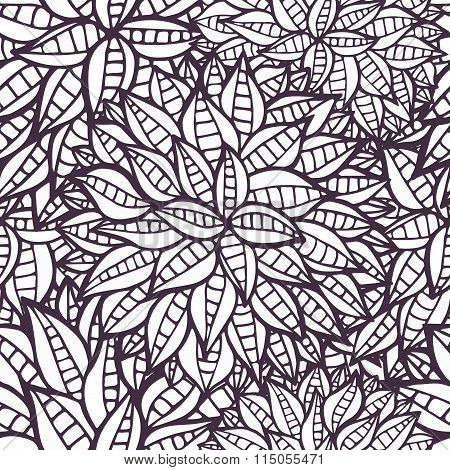 Doodle Fantasy Flowers Outline Ornamental Seamless Pattern
