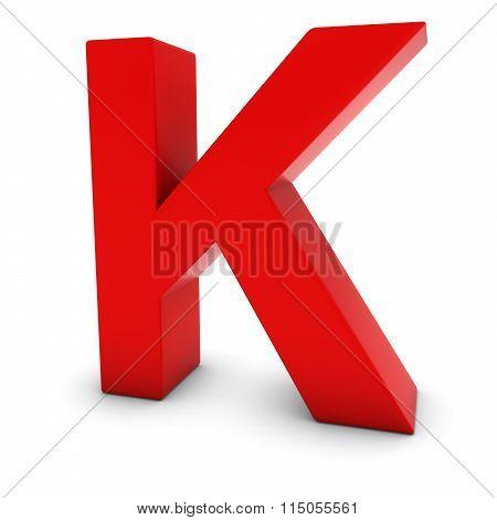 Red Capital K - 3D Letter K Isolated On White