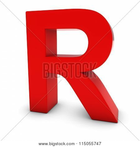 Red Capital R - 3D Letter R Isolated On White