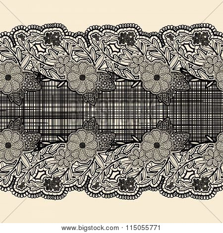 Seamless Lace Ribbon With Black Cloth In The Center. For The Design Of Wedding Cards And Invitations