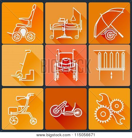 The Equipment For People With Disabilities. Set Of Bright Icons Flat In A Fashionable Style With Lon
