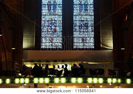 LIVERPOOL 14th JANUARY 2016 Cafe inside Liverpool Anglican Cathedral