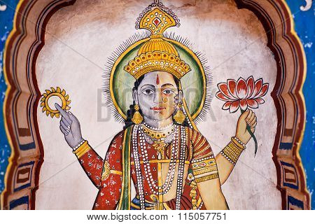 Face Of Hindu Lord Brahma - Creator Of The Universe - Fresco Of Old Mansion
