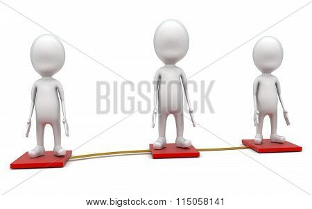 3D Guys Standing On Beveled Floor Which Are Connected Concept