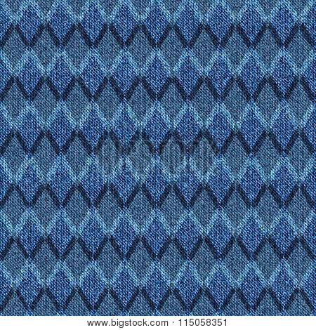 Blue Denim With Halftone Seamless Argyle Pattern.