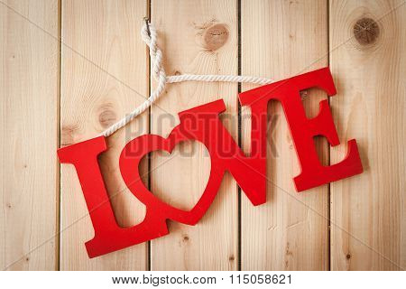 Love On Rustic Wooden Background