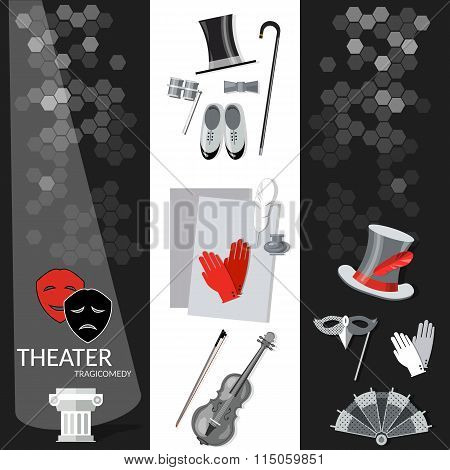 Theatre Flat Banner Black And White Dramaturgy Entertainment And Performance Elements