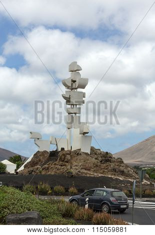 MOZAGA LANZAROTE SPAIN - SEPTEMBER 9 2015: The Monumento al Campesino in Mozaga erected by the artist Cesar Manrique in the year 1986 is a memorial in honour of the hard working peasant farmers of Lanzarote