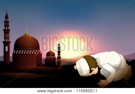 Muslim person praying at mosque illustration