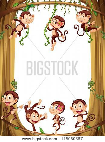 Border design with monkeys climbing the tree illustration