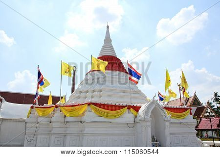 White Pagoda Against Blue Sky At Wat Poramaiyikawas Temple In Nonthaburi, Thailand.