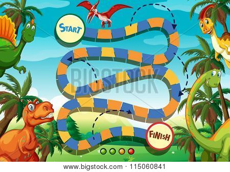 Boardgame template with many dinosaurs illustration
