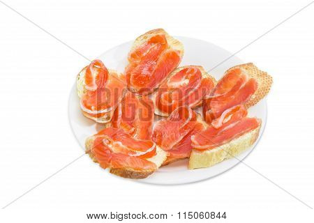 Sandwiches Made With Baguette, Butter And Salted Trout