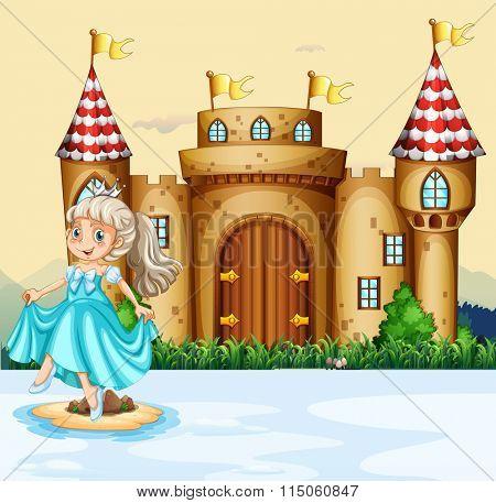 Cute princess at the palace illustration