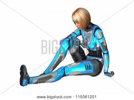 Female Cyborg On White