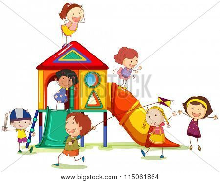 Children playing around the playhouse illustration