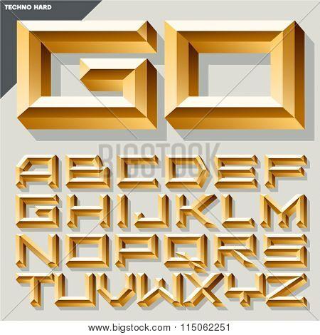 Chic vector golden alphabet in techno style. Uppercase