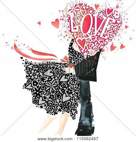 Valentine kiss. Valentines day card.